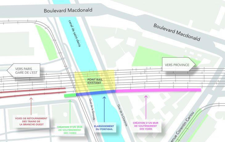 Carte des travaux pour le 19<sup>e</sup> arrondissement de Paris