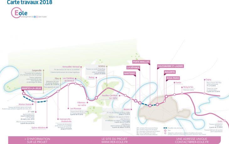 La carte des Travaux Eole en 2018