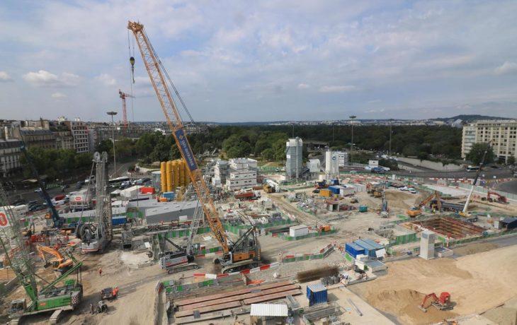 Les travaux de la future gare de la porteMaillot cet été2018