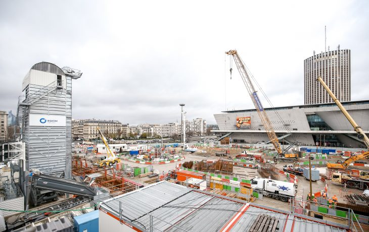 Les travaux de la future gare de Porte Maillot sur la bonne voie en photos