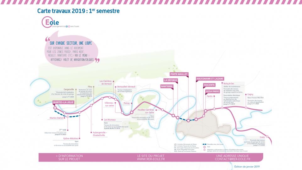 Plan des travaux de la ligne RER E avec les détails des travaux de chaque gare