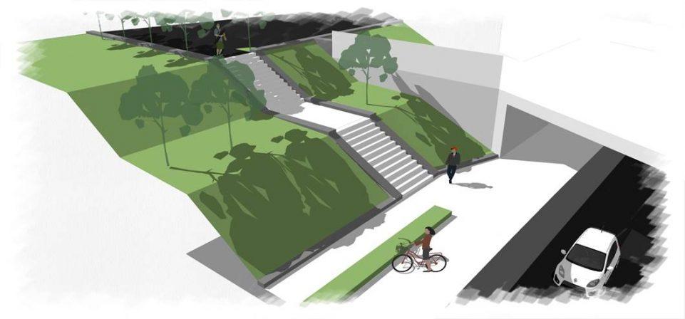 visuel montrant l'aménagement à venir du PN6. un espace de verdure encadre le futur pont ferroviaire. les voitures passeront en dessous du pont. une piste cyclabe est faite le long de la route et un accès escalier est réalisé à gauche du pont ferroviaire.