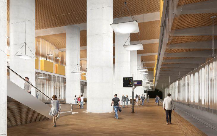 Les travaux Eole de la future gare de La Défense