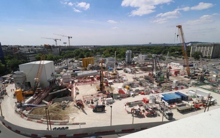 Avancement des travaux de terrassement de la gare de Porte Maillot en images