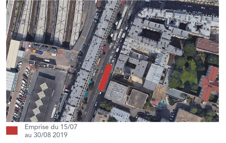 Travaux pour le prolongement de la ligne E rue du Faubourg Saint-Denis cet été