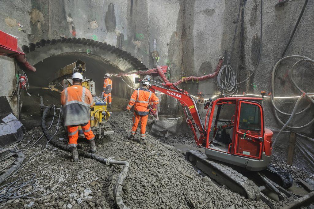 Dans le puits Abreuvoir, le rameau de connexion est en cours de réalisation.