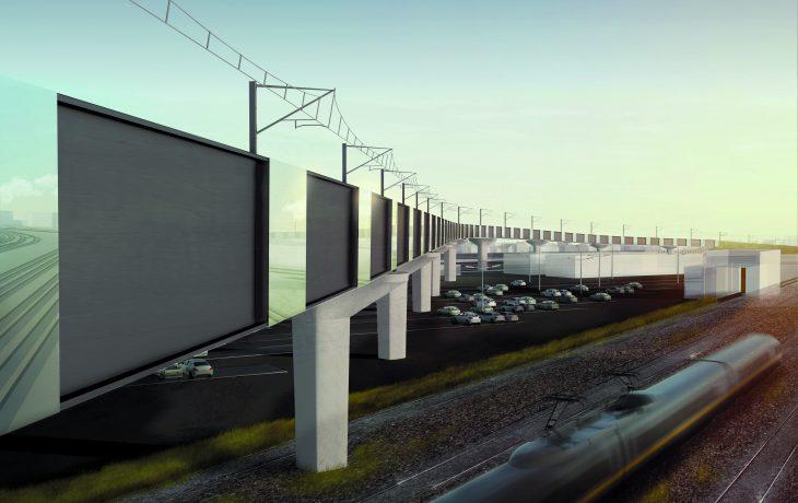 Les premières fondations du futur viaduc réalisées