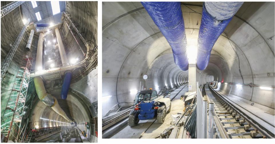 Travaux et pose de voies dans le tunnel à Courbevoie côté Ouest