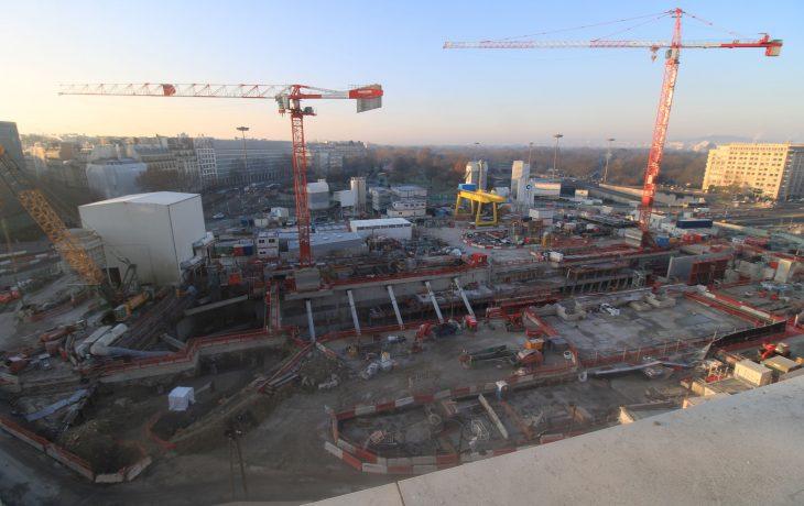 Porte Maillot – l'année 2021 démarre avec la partie souterraine en cours de finition pour recevoir le tunnelier