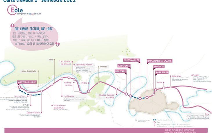 Carte des travaux 1<sup>er </sup>semestre 2021