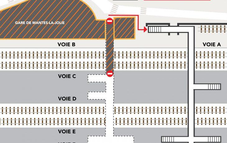 Cheminement modifié pour les piétons et voyageurs à compter du 12 avril, en gare de Mantes-la-Jolie