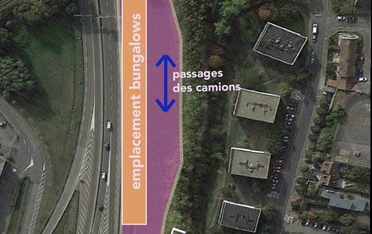Installation d'une base vie pour les travaux depuis le pont rail de limay jusqu'à la gare de Mantes-la-Jolie