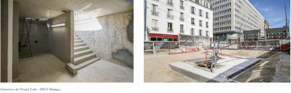 Vue de l'escalier fixe dans le puits et vue de l'emprise chantier depuis la rue